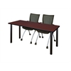 "66"" x 24"" Kee Training Table- Mahogany/ Black & 2 Apprentice Chairs- Black"