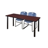 "66"" x 24"" Kee Training Table- Mahogany/ Black & 2 Zeng Stack Chairs- Blue"