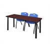 "66"" x 24"" Kee Training Table- Mahogany/ Black & 2 'M' Stack Chairs- Blue"