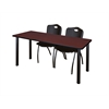 "66"" x 24"" Kee Training Table- Mahogany/ Black & 2 'M' Stack Chairs- Black"
