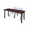 "66"" x 24"" Kee Training Table- Mahogany/ Black & 2 'M' Stack Chairs- Grey"