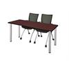 "66"" x 24"" Kee Training Table- Mahogany/ Chrome & 2 Apprentice Chairs- Black"
