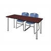 "66"" x 24"" Kee Training Table- Mahogany/ Chrome & 2 Zeng Stack Chairs- Blue"