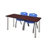 "66"" x 24"" Kee Training Table- Mahogany/ Chrome & 2 'M' Stack Chairs- Blue"