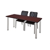 "66"" x 24"" Kee Training Table- Mahogany/ Chrome & 2 Mario Stack Chairs- Black"