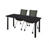 "66"" x 24"" Kee Training Table- Mocha Walnut/ Black & 2 Apprentice Chairs- Black"