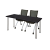 "66"" x 24"" Kee Training Table- Mocha Walnut/ Chrome & 2 Apprentice Chairs- Black"