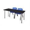 "66"" x 24"" Kee Training Table- Mocha Walnut/ Chrome & 2 'M' Stack Chairs- Blue"