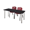"66"" x 24"" Kee Training Table- Mocha Walnut/ Chrome & 2 'M' Stack Chairs- Burgundy"