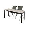 "66"" x 24"" Kee Training Table- Maple/ Black & 2 Apprentice Chairs- Black"