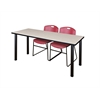 "66"" x 24"" Kee Training Table- Maple/ Black & 2 Zeng Stack Chairs- Burgundy"