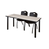 "66"" x 24"" Kee Training Table- Maple/ Black & 2 'M' Stack Chairs- Black"