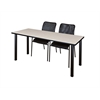"66"" x 24"" Kee Training Table- Maple/ Black & 2 Mario Stack Chairs- Black"