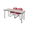 "66"" x 24"" Kee Training Table- Maple/ Chrome & 2 Zeng Stack Chairs- Burgundy"
