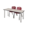 "66"" x 24"" Kee Training Table- Maple/ Chrome & 2 'M' Stack Chairs- Burgundy"