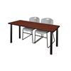 "72"" x 24"" Kee Training Table- Cherry/ Black & 2 Zeng Stack Chairs- Grey"