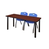 "72"" x 24"" Kee Training Table- Cherry/ Black & 2 'M' Stack Chairs- Blue"
