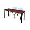 "72"" x 24"" Kee Training Table- Cherry/ Black & 2 'M' Stack Chairs- Grey"