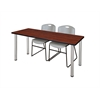 "72"" x 24"" Kee Training Table- Cherry/ Chrome & 2 Zeng Stack Chairs- Grey"