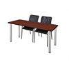 "72"" x 24"" Kee Training Table- Cherry/ Chrome & 2 Mario Stack Chairs- Black"