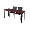 "72"" x 24"" Kee Training Table- Mahogany/ Black & 2 Mario Stack Chairs- Black"