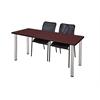 "72"" x 24"" Kee Training Table- Mahogany/ Chrome & 2 Mario Stack Chairs- Black"