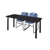 "72"" x 24"" Kee Training Table- Mocha Walnut/ Black & 2 Zeng Stack Chairs- Blue"