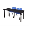 "72"" x 24"" Kee Training Table- Mocha Walnut/ Black & 2 'M' Stack Chairs- Blue"