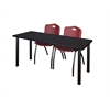 "72"" x 24"" Kee Training Table- Mocha Walnut/ Black & 2 'M' Stack Chairs- Burgundy"