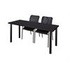 "72"" x 24"" Kee Training Table- Mocha Walnut/ Black & 2 Mario Stack Chairs- Black"