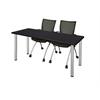 "72"" x 24"" Kee Training Table- Mocha Walnut/ Chrome & 2 Apprentice Chairs- Black"