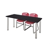 "72"" x 24"" Kee Training Table- Mocha Walnut/ Chrome & 2 Zeng Stack Chairs- Burgundy"
