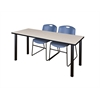 "72"" x 24"" Kee Training Table- Maple/ Black & 2 Zeng Stack Chairs- Blue"