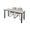 "72"" x 24"" Kee Training Table- Maple/ Black & 2 Zeng Stack Chairs- Grey"