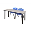 "72"" x 24"" Kee Training Table- Maple/ Black & 2 'M' Stack Chairs- Blue"