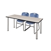 "72"" x 24"" Kee Training Table- Maple/ Chrome & 2 Zeng Stack Chairs- Blue"