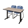 """Cain 42"""" x 24"""" Training Table- Beige & 2 Zeng Stack Chairs- Blue"""