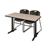 "Cain 42"" x 24"" Training Table- Beige & 2 Zeng Stack Chairs- Black"