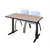 """Cain 42"""" x 24"""" Training Table- Beige & 2 'M' Stack Chairs- Grey"""