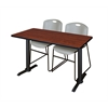 "Cain 42"" x 24"" Training Table- Cherry & 2 Zeng Stack Chairs- Grey"