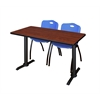 """Cain 42"""" x 24"""" Training Table- Cherry & 2 'M' Stack Chairs- Blue"""