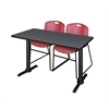 "Cain 42"" x 24"" Training Table- Grey & 2 Zeng Stack Chairs- Burgundy"