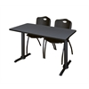 """Cain 42"""" x 24"""" Training Table- Grey & 2 'M' Stack Chairs- Black"""