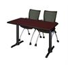 """Cain 42"""" x 24"""" Training Table- Mahogany & 2 Apprentice Chairs- Black"""