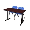 """Cain 42"""" x 24"""" Training Table- Mahogany & 2 'M' Stack Chairs- Blue"""