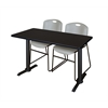 "Cain 42"" x 24"" Training Table- Mocha Walnut & 2 Zeng Stack Chairs- Grey"