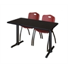 "Cain 42"" x 24"" Training Table- Mocha Walnut & 2 'M' Stack Chairs- Burgundy"