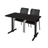 """Cain 42"""" x 24"""" Training Table- Mocha Walnut & 2 Mario Stack Chairs- Black"""