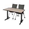 "Cain 48"" x 24"" Training Table- Beige & 2 Apprentice Chairs- Black"