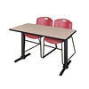 "Cain 48"" x 24"" Training Table- Beige & 2 Zeng Stack Chairs- Burgundy"